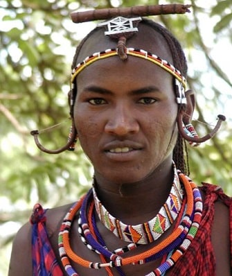 Maasai man wearing necklace