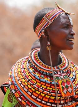 Woman wearing Zulu bead jewelry